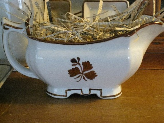 MEAKIN TEA LEAF Ironstone Gravy Boat Vintage Collectible